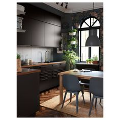 IKEA - ODGER, Chair, blue, Comfortable to sit on thanks to the bowl-shaped seat and rounded shape of the backrest. Kitchen Interior, Home Interior Design, Black Kitchens, Black Ikea Kitchen, Home Trends, Cuisines Design, Küchen Design, Design Trends, Modern Kitchen Design