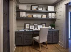 "For Study- The wall color in this image and most of the first floor of our house is Benjamin Moore CSP-190, Rocky --Beach Semi-Gloss. The ceilings are Benjamin Moore CSP-225, Gallery Buff Eggshell. Cabinets are Sherwin Williams, Black Fox. Custom Ash flooring - ""weathered oak furniture"""