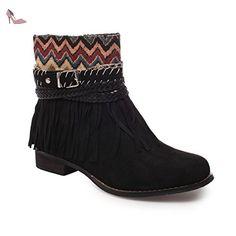 La Modeuse - Bottines à franges aspect daim avec imprimés - Chaussures la modeuse (*Partner-Link)