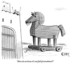 A Trojan-horse attack on a nihilistic castle Dilbert Cartoon, Risky Business, New Yorker Cartoons, Wooden Horse, Strategic Planning, Ancient Artifacts, Horse Art, History Books, Cartoon Art