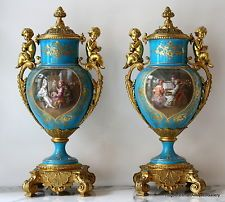 Jeweled Porcelain Gilt Bronze Mounted Urns Pair