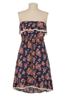 Belted Floral Print High-Low Dress