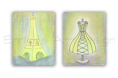 Girls room decor Paris Eiffel Tower Wall Art Shabby Dress