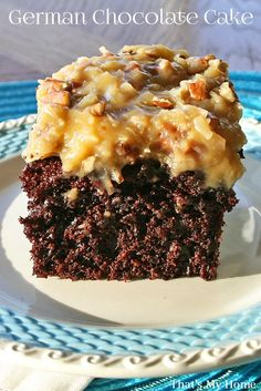 German Chocolate Cake from That's My Home Moist, delicious chocolate cake with Mom's German Chocolate Frosting full of pecans and coconut.