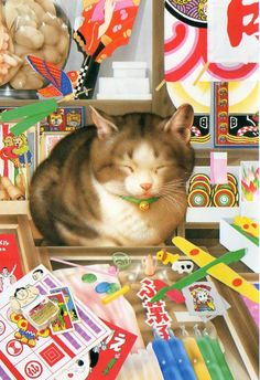 """""""The Old Sweet Shop"""" by Makoto Muramatsu ~ One of Muramatsu's cats enjoys a snooze in the dagashiya, a traditional candy store that also sells simple & inexpensive toys for children. [La paraeta en València, Spain] From the days when 5 ¥ (yen) would buy something!"""