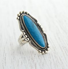 Vintage Sterling Silver Faux Turquoise Ring - Retro Signed Size 5 1/2 Southwestern Native American Style Jewelry / Blue Statement by Maejean Vintage on Etsy, $38.00