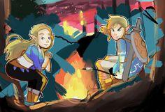 Link and Zelda Breath of the Wild Campfire Drawing by AlSanya.deviantart.com on @DeviantArt