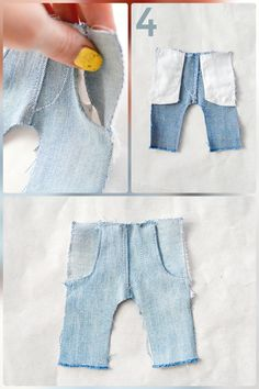 Trousers pattern Doll jeans by LiliaArtShop. Sew jeans for your dolls using my tutorials Diy Clothes Jeans, Reuse Old Clothes, Diy Barbie Clothes, Barbie Clothes Patterns, Clothes Crafts, Clothing Patterns, Doll Patterns, Fabric Doll Pattern, Fabric Dolls