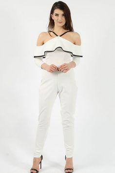 Cold Shoulder Frill Ivory Jumpsuit