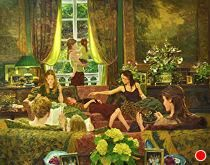Sunday with the Girls by David Hettinger Oil ~ 34 in x 46 in