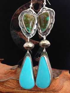 Handmade Jewelry Southwestern Boho Blue Turquoise Earrings