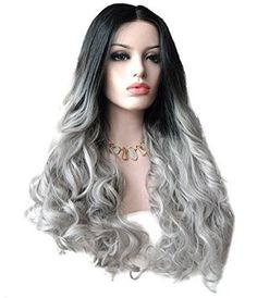Uniwigs® Butterfly Synthetic Lace Front Wig Body Wave Ombre Gray Hair