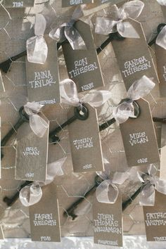 These key table plan tags would go well with the other idea sharing 'your key to success'. Wedding idea.