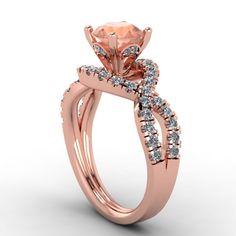 14K Rose Gold Diamond Engagement Ring with Morganite Center  -Style 30RGDMOE. $2,100.00, via Etsy.