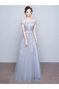 Applique Evening Dresses, Grey A-line/Princess Evening Dresses, Long Grey Evening Dresses, Chic Prom Dresses Off-the-shoulder Floor-length Prom Dress/Evening Dress WF02G45-1089