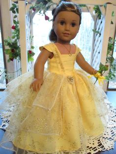 """Belle Yellow Doll Dress to fit your 18"""" American Girl Doll by Emmakate0 on Etsy"""