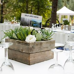 reclaimed wood centerpiece | Succulent Wedding Flower Centerpiece : Wedding Flowers Gallery #salvolove