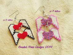 winged heart earrings ~ https://www.facebook.com/pages/Beaded-Moon-Designs/229870373249