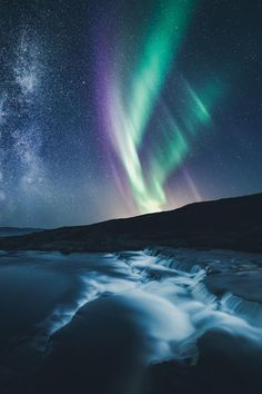 Milky Way & Aurora, Norway by Mikko Lagerstedt on Beautiful Sky, Beautiful Landscapes, Cosmos, To Infinity And Beyond, Photo Instagram, Milky Way, Landscape Photos, Night Skies, Wonders Of The World