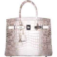 Preowned Hermes Birkin Bag 25cm Himalayan White Nilo Crocodile... ($111,000) ❤ liked on Polyvore featuring bags, handbags, purses, hermes, white, preowned handbags, crocodile purse, hermes purse, croc handbags and locking purse