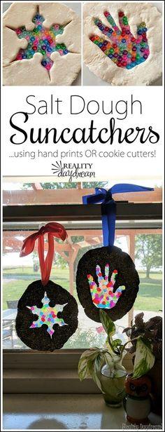 Kids Craft! Salt Dough Suncatchers using handprints OR cookie cutters! {Reality Daydream}