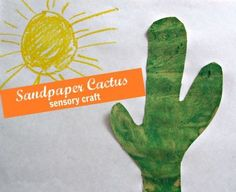 Sand paper makes such a perfect cactus, & with finger painting this is a wonderful sensory craft for multi-age groups.