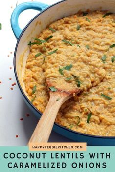 Red lentils and caramelized onions in a sweet coconut sauce, with the tiniest hint of curry. A creamy, mild and naturally sweet dish that is simple to prepare and works well as a side dish or a main meal with rice. These coconut lentils are vegetarian, ve