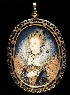 nicholas+hilliard+miniatures | Queen Elizabeth I miniature by Nicholas Hilliard, c.1595