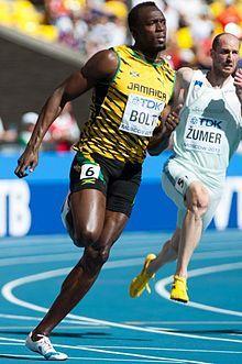Usain Bolt — champion olympique et champion du monde de sprint 100m, 200m, 4x100m