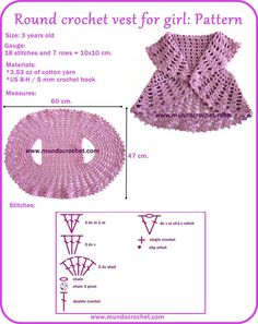 "Round crochet vest for girl [   ""Round crochet vest for girl-free pattern para fer"",   ""Round crochet vest for girl-free pattern. I know exactly who is going to get…"",   ""Round crochet vest for girl, plus a bunch of other simple patterns for babies and kids."",   ""Round crochet vest for girl, and maybe you can make it for bigger sizes too, if you take good measurements. It"
