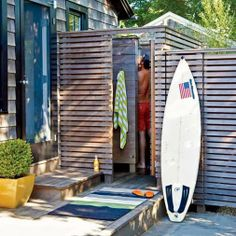 Cool Down Outdoor Shower - Creative Coastal Room Makeovers - Coastal Living Mobile Outdoor Tub, Outdoor Baths, Outdoor Spaces, Outdoor Living, Outdoor Kitchens, Outside Showers, Outdoor Showers, Surfboard Storage, Surf House