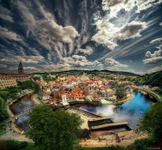 Cesky Krumlov, Czech Republic from the castle.  (Two images stacked to make this - awesome!)