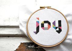 Inpiriational cross stitch quote JOY awesome by hallodribums