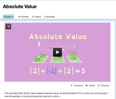 Absolute Value - This animated Math Shorts video explains absolute value, as demonstrated on the number line and through a real-life example. In the accompanying classroom activity, students watch the video and then play a game in which they move a penny along a number line in positive and negative directions. #AbslouteValue #Math #MathVideo
