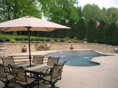 Pool deck with beautiful landscaping around it.