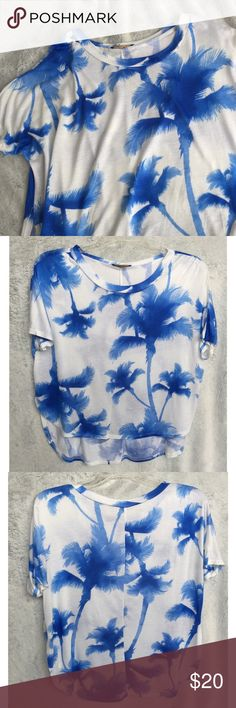 White & Blue Palm Tree Print Top Great soft top with bright blue palm tree print. Slightly hi low style, with slits in the side. Cropped boxy fit.   ✔️If you'd like to MAKE AN OFFER please do so through the offer button ONLY. I won't negotiate prices in the comments.  ✔️All sale items, items $15 and under, & clearance items are firm unless BUNDLED.  ❌No trades, PayPal, Holds 📷Instagram: @lovelionessie Tops Tees - Short Sleeve