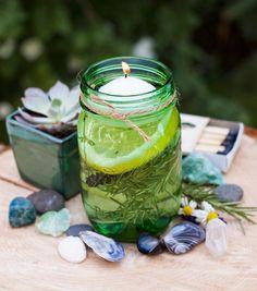 DIY: Summer Citronella kaarsen #outdoor #candle #centerpiece #party