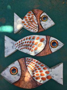 Fish Wall Decor, Fish Wall Art, Fish Art, Driftwood Fish, Driftwood Crafts, Wooden Crafts, Fish Crafts, Beach Crafts, Clay Fish