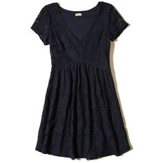 Hollister V-neck Lace Skater Dress (57 CAD) ❤ liked on Polyvore featuring dresses, navy lace, skater skirt, blue dress, navy blue dresses, skater skirt dress and navy dresses