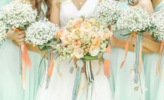 bouquets with striped ribbons, photo by The Nolans http://ruffledblog.com/magnolia-hill-wedding #weddingbouquet #flowers