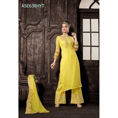Eid Special Designer Yellow Georgette Palazzo Style Salwaar Suit-ASE638HYT ( ARTI-522 )Karishma