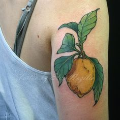 Feelin fresh with this lemon tattoo by Elize #tattoo #bostontattoo…