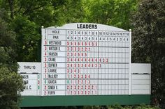 A leader board is seen on the 11th hole during the second round of the 2012 Masters Tournament at Augusta National Golf Club on April 6, 2012 in Augusta, Georgia.