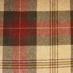 Beachcomber Tartan Fabric A pure wool tartan fabric woven in fuchsia, dark green and camel.