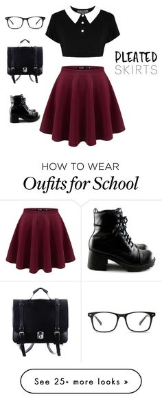 """School Girl"" by rosieparis on Polyvore featuring pleatedskirts"