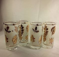 Vintage Libbey Golden Foliage Drinking Glasses 1960's