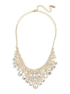 Just one word comes to mind when describing this necklace: spectacular. Just check out that extravagant chandelier silhouette, dropping with glittering gemstones of all shapes and sizes.