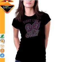 Fight Like A Girl Breast Cancer Body Fit Rhinestone T-shirt  best buy follow this link http://shopingayo.space