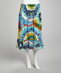 Take a look at this Blue & Yellow Tropical Floral Print Skirt by DLM on #zulily today!