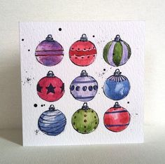 Christmas Multicoloured Baubles Card from Original Illustration